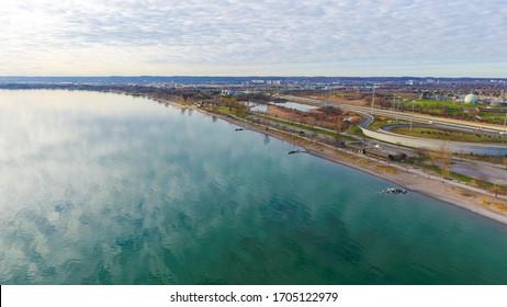 Aerial view of Lake Ontario, in Hamilton, Ontario.