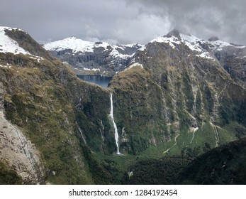 Aerial view of Lake Quill and Sutherland Falls, Fiordland, New Zealand