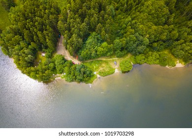 Aerial view of a lake and recreational area in nature. Water reservoir Trnavka from above in Vysocina, Czech republic, European union. Amazing landscape as background texture concept.