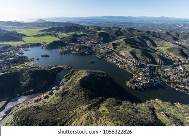 Aerial view of Lake Sherwood, Hidden Valley and the Santa Monica Mountains near Westlake Village, Malibu and Thousand Oaks California.