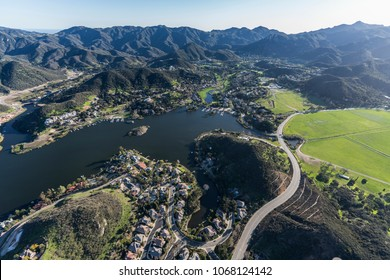 Aerial view of Lake Sherwood and Potrero Road in scenic Hidden Valley near Thousand Oaks California.