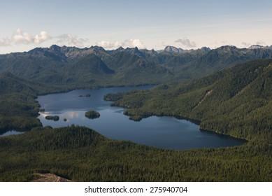 Aerial view of a lake, Skeena-Queen Charlotte Regional District, Haida Gwaii, Graham Island, British Columbia, Canada