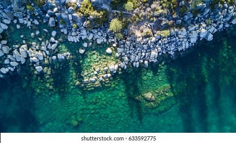 Aerial View of Lake Tahoe Shore