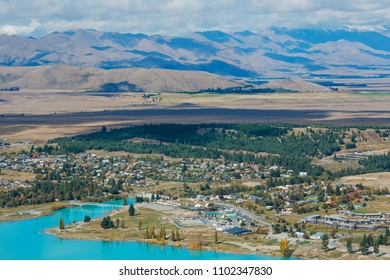 Aerial view of Lake Tekapo from Mount John Observatory in Canterbury, New Zealand