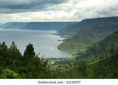 Aerial view of Lake Toba in North Sumatra, Indonesia.