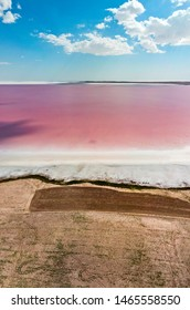 Aerial view of Lake Tuz, Tuz Golu. Salt Lake. Red, pink salt water. It is the second largest lake in Turkey and one of the largest hypersaline lakes in the world. It is located in the Central Anatolia