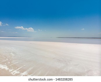 Aerial view of Lake Tuz, Tuz Golu. Salt Lake. White salt water. It is the second largest lake in Turkey and one of the largest hypersaline lakes in the world. Central Anatolia Region