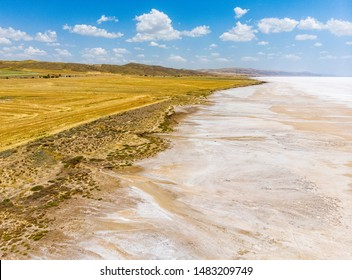 Aerial view of Lake Tuz, Tuz Golu. Salt Lake. White salt water. It is the second largest lake in Turkey and one of the largest hypersaline lakes in the world. Central Anatolia Region. Background