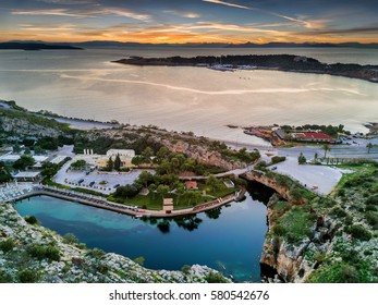 Aerial view from Lake Vouliagmeni during sunset, south Athens, Greece