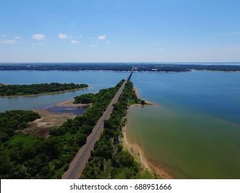 Aerial view, Lake Whitney near Waco Texas