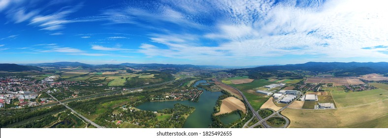 Aerial view of the lake zelena voda in Nove Mesto nad Vahom in Slovakia - Shutterstock ID 1825492655