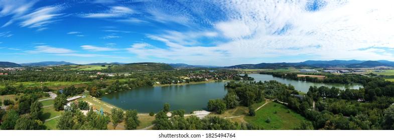 Aerial view of the lake zelena voda in Nove Mesto nad Vahom in Slovakia - Shutterstock ID 1825494764