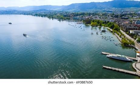 Aerial View Of Lake Zurich In Switzerland