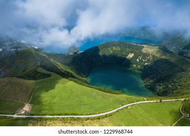 Aerial view of lakes in Sete Cidades volcanic craters on San Miguel island, Azores, Portugal.