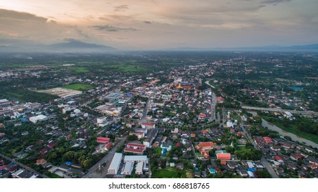 Aerial view of lamphun city,north in thailand.