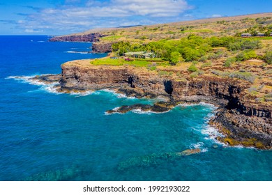 Aerial view of Lanai, Hawaii looking west towards Golf Course, bordering the Pacific Ocean