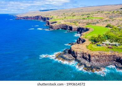 Aerial view of Lanai, Hawaii looking west at the rocky cliffside bordering the Pacific Ocean