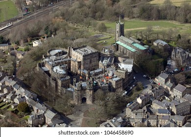 aerial view of Lancaster Castle, UK