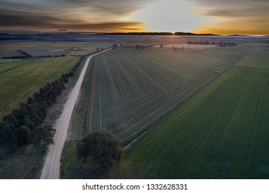 An aerial view of the land after the harvest in western Victoria, Australia.