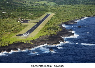 Aerial view of landing airstrip on coast of Maui, Hawaii.