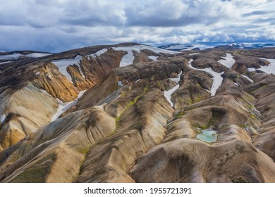Aerial view of the Landmannalaugar volcanic massif in Iceland