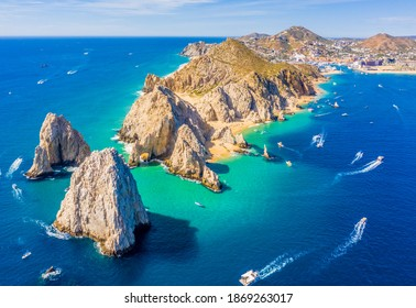 Aerial view of Lands End and the Arch of Cabo San Lucas, Baja California Sur, Mexico, where the Gulf of California meets the Pacific Ocean