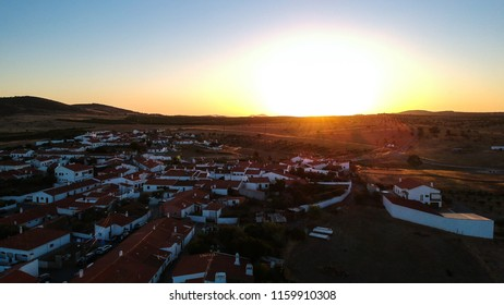 Aerial view of a landsacape with village in Alentejo at the sunset. Portugal. Drone photo