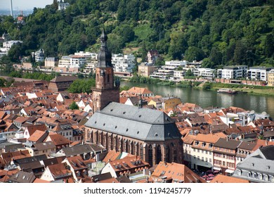 Aerial view landscape and cityscape of Heidelberg altstadt or old town from Heidelberg Castle or Heidelberger Schloss for people travel and visit at Heidelberg in Baden-Wurttemberg, Germany