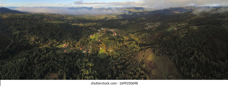 Aerial view of landscape in Covelo, Mountains in Pontevedra. Galicia,Spain. Drone Photo