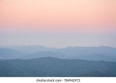 Aerial view landscape mountain and forest at twilight from Doi Samer Dao  in Sri Nan National Park ,  Nan Province of Thailand