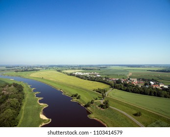 Aerial view of a landscape with the river Elbe