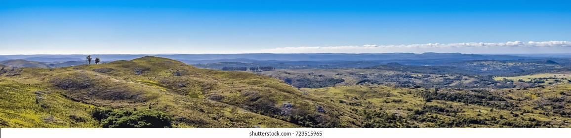 Aerial view landscape scene at countryside environment at Maldonado province, Uruguay
