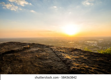 Aerial view - landscape of tree, mountain from the top of mountain in sunset time
