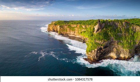 aerial view : Landscape in Uluwatu Temple, Bali, Indonesia on sunset