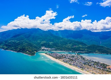 Aerial view of Lang Co bay and beach, Hai Van pass, Lap An lagoon, Hue, Vietnam. Travel and landscape concpet.