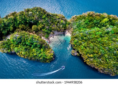 Aerial view of Lao Lading island in Krabi, Thailand.