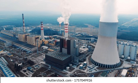 Aerial View Of Large Chimneys From The Kozienice Coal Power Plant In Poland - Swierze Gorne.