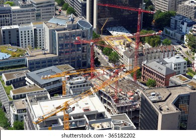 Aerial view of a large construction site in the financial district of  Frankfurt Am Main, Germany.