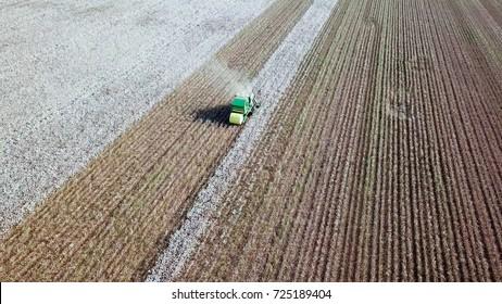 畑で作業する大きな緑のコットンピッカーの空撮図。