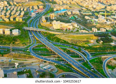 Aerial view of large highway overpass. Tehran, Iran