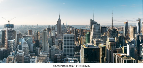 Aerial view of the large and spectacular buildings in New York City - Panoramic Landscape