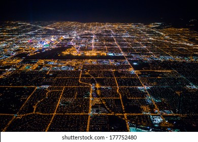 Aerial view of Las Vegas by night, Nevada