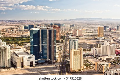 Aerial view of Las Vegas at evening