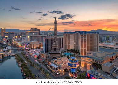 Aerial view of Las Vegas strip in Nevada as seen at sunrise.