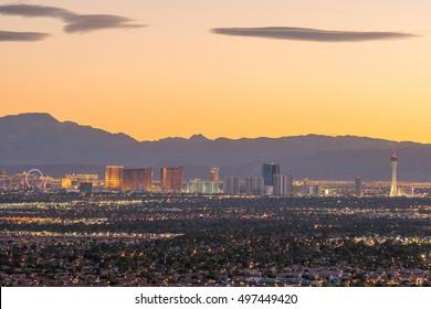 Aerial view of Las Vegas strip in Nevada USA
