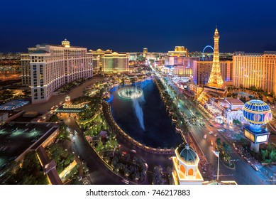 Aerial view of Las Vegas strip in Nevada as seen at night, USA.