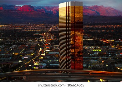 Aerial view of Las Vegas at Sunrise
