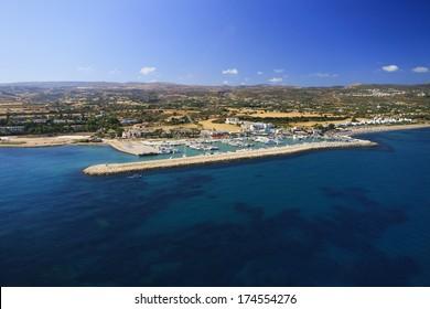 Aerial view of Latchi marina, Paphos area, Cyprus