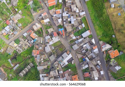 Aerial view of latin American city in the Andes
