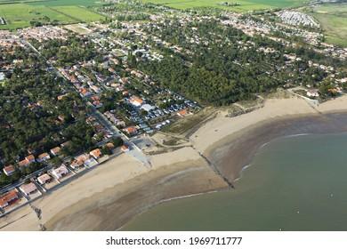 Aerial view of  La-Tranche-sur-Mer , Vendee department, Pays-de-la-Loire region, France, Europe